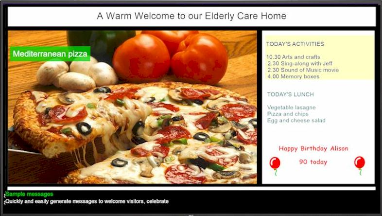 Digital signage solutions for care centres and nursing homes