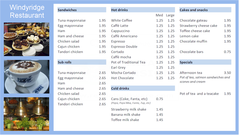 Repeat Signage in-built spreadsheet displays restaurant menus