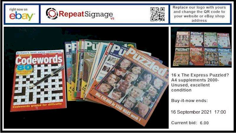 Repeat Signage for displaying eBay auctions on display screens