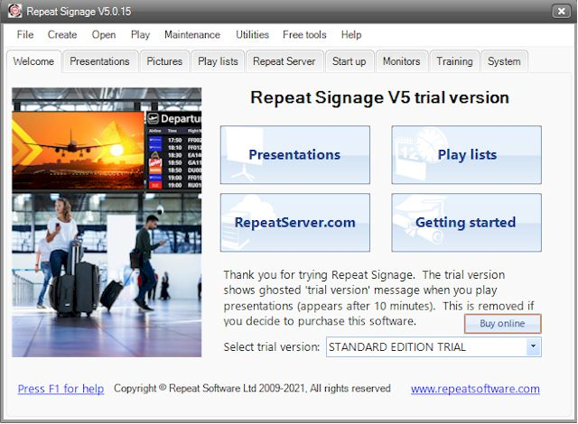 Easy to use Repeat Signage software, free trial download