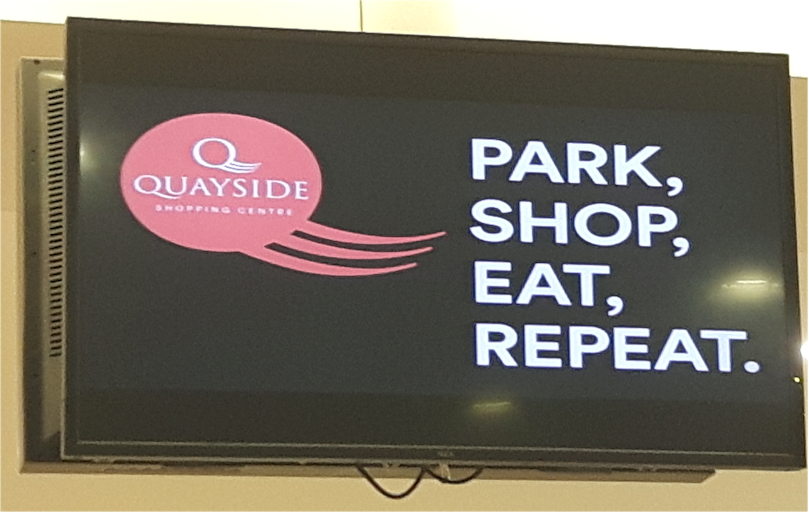 Repeat Signage software at Quayside Shopping Centre