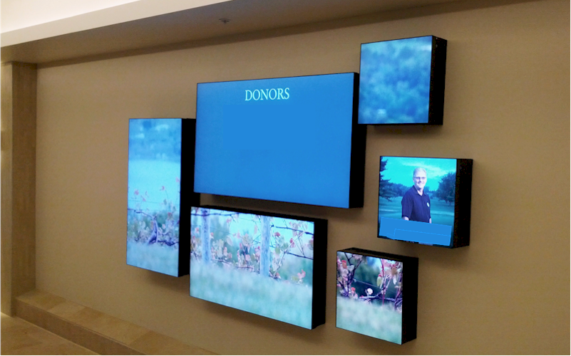 Repeat Signage Media Wall software for hospitals