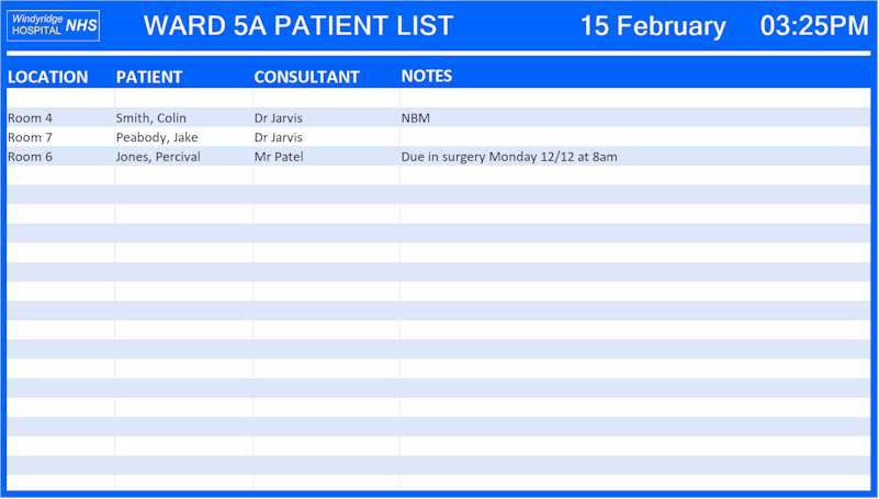Repeat Signage spreadsheet of ward patients list