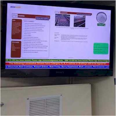 Digital signage for train depots