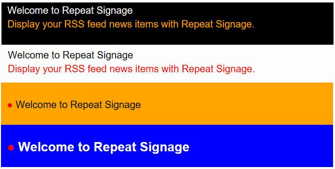 Repeat Signage RSS news feed control